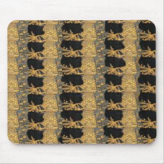 Mönster för svart för art nouveauGustav Klimt guld Musmattor