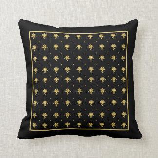 Mönster för svart och guld- vintage för lyx kudde