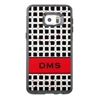 Mönster för svart vit för Monogram rött flott OtterBox Samsung Galaxy S6 Edge Plus Skal