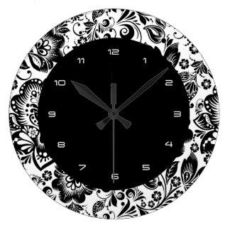Mönster för svart- & vitbarockblommor stor klocka