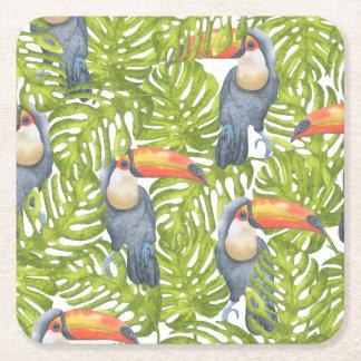 Mönster för träd för djungelToucan fågel Underlägg Papper Kvadrat