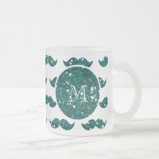 Mönster för turkosglittermustasch din Monogram Kaffe Mugg