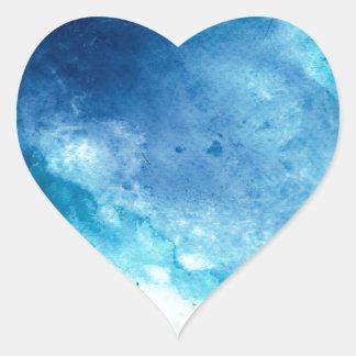 Mönster för vattenfärg för Splatter för blåttOmbre Hjärtformat Klistermärke