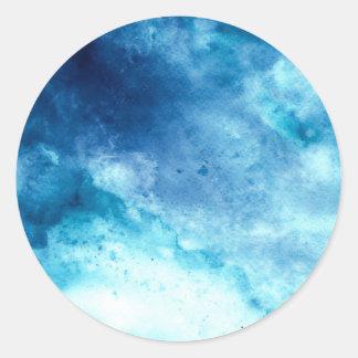 Mönster för vattenfärg för Splatter för blåttOmbre Runt Klistermärke