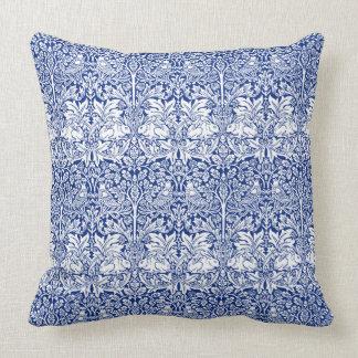 Mönster för vintage för blått för William Morris Kudde
