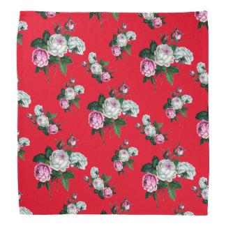 Mönster för vit ros för vintageshabby chic rosa scarf