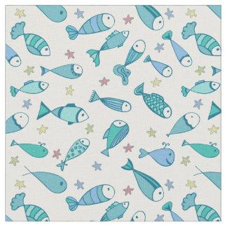 Mönster med fisken och sjöstjärnan tyg