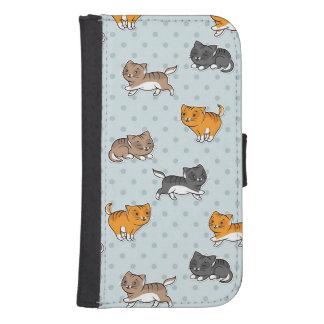 mönster med roliga katter samsung s4 plånboksfodral