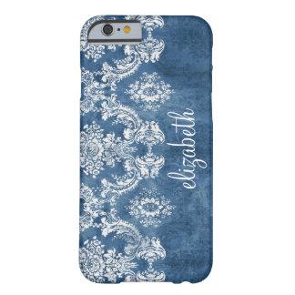 Mönster och namn för safirblåttvintage damastast barely there iPhone 6 fodral