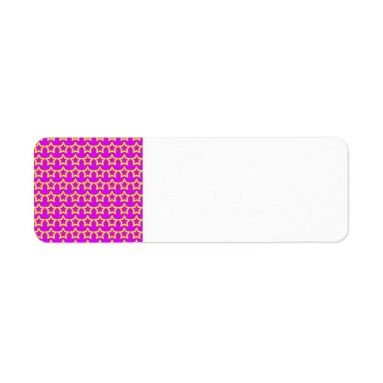 Mönster: Rosa bakgrund med gula stjärnor Returadress Etikett