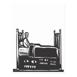 Monster under säng vykort