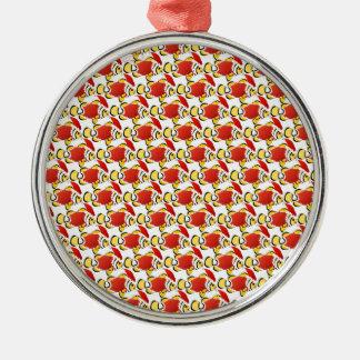 Mönster z för julSanta Clownfish fisk Rund Silverfärgad Julgransprydnad