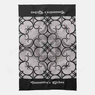 Mönstergrått och svart för ursnygg victorian gotis kökshandduk