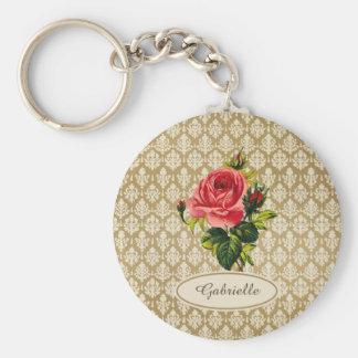 Mönsterrosa ros och namn för vintage guld- rund nyckelring