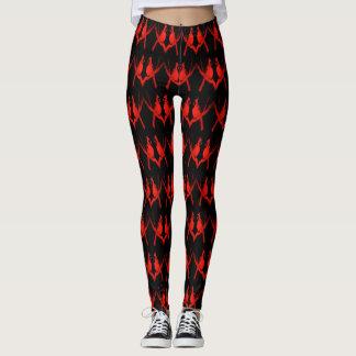 Mönstrad röd huvudsaklig sparre leggings