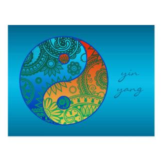 Mönstrad Yin Yang orange och blått Vykort