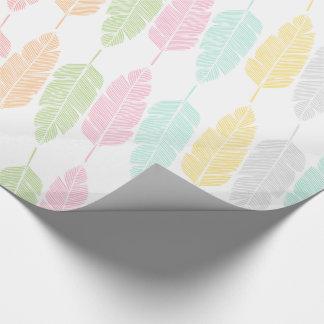 Mönstrade pastellfärgade fjädrar slå in papper presentpapper