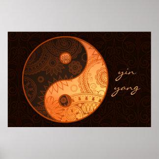 Mönstrat Yin Yang guld Poster