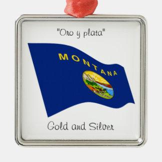 Montana motto silverfärgad fyrkantigt julgransprydnad