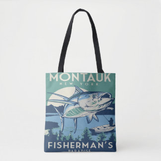 Montauk New York fiskare toto för vintage för Tygkasse