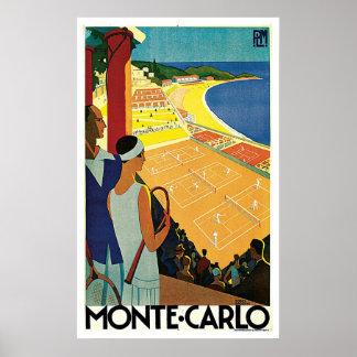 Monte - carlo Monaco tennisvintage resor Poster