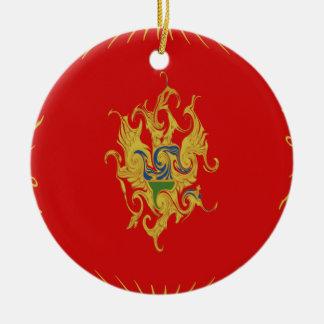 Montenegro Gnarly flagga Rund Julgransprydnad I Keramik