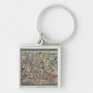 Montera ryttarna, från tapestryen av 'David Fyrkantig Silverfärgad Nyckelring