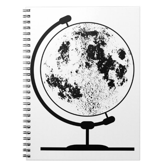 Monterat Lunar jordklot på den roterande Anteckningsbok Med Spiral