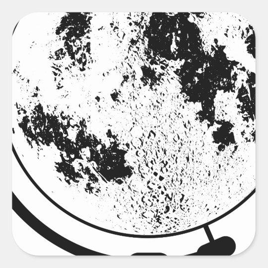Monterat Lunar jordklot på den roterande Fyrkantigt Klistermärke