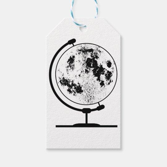 Monterat Lunar jordklot på den roterande Presentetikett
