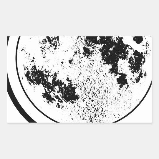 Monterat Lunar jordklot på den roterande Rektangulärt Klistermärke