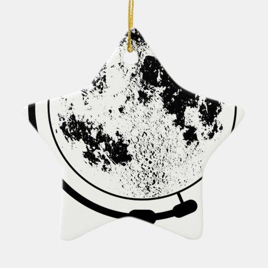 Monterat Lunar jordklot på den roterande Stjärnformad Julgransprydnad I Keramik