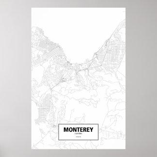 Monterey Kalifornien (svarten på vit) Poster