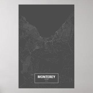 Monterey Kalifornien (vit på svart) Poster