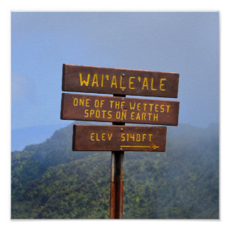 Monteringen Waialeale undertecknar, Kauai, Hawaii Poster