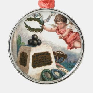 Monument för boll för kanon för Obelisk för Rund Silverfärgad Julgransprydnad