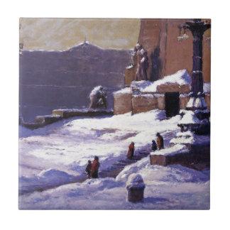 Monument i snön vid T.C. Steele Kakelplatta