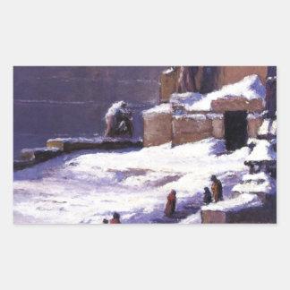 Monument i snön vid T.C. Steele Rektangulärt Klistermärke