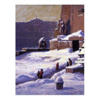 Monument i snön vid T.C. Steele Vykort