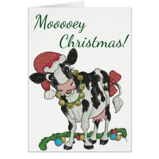 Mooey jul! Ko-Themed julkort Hälsningskort