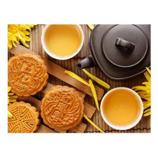 Mooncake och tea, kinesisk mitt- höstfestival 2 vykort