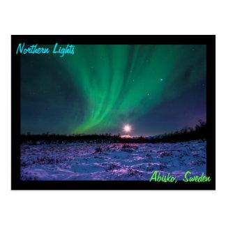 Moonrise och det nordliga ljuset i sverige vykort