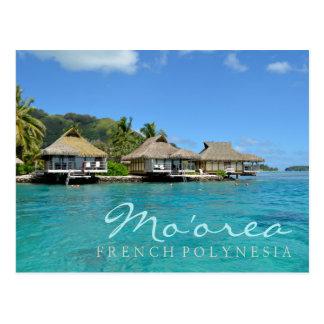 Moorea på franska Polynesia med lyxiga bungalower Vykort