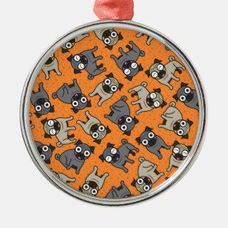 Mops-en-Pricka (orange) Julgransprydnad Metall