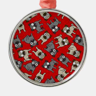 Mops-en-Pricka (rött) Julgransprydnad Metall