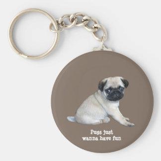 Mops Keychain Nyckel Ringar