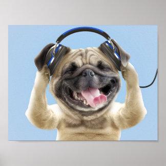 Mops med hörlurar, mops, husdjur poster
