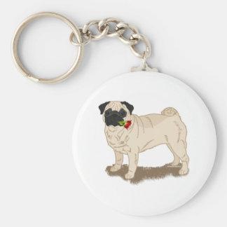 Mops och ro lismar den Themed mopshunden Rund Nyckelring