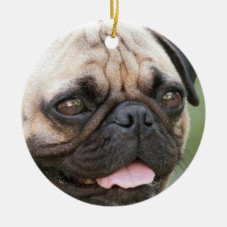 Mopshundprydnad Rund Julgransprydnad I Keramik
