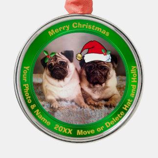 Mopsjulgranen smyckar ditt foto eller vår mops julgransprydnad metall